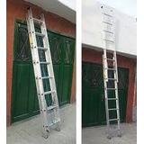 Escalera Extensible Doble 20 Escalones De Aluminio Nueva