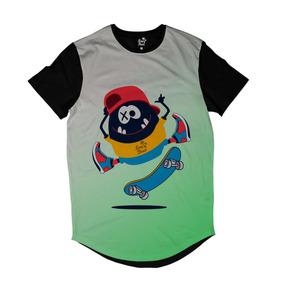 Camiseta Longline Long Beach Pulga Tre Flip Full Print Verde a518f33428e