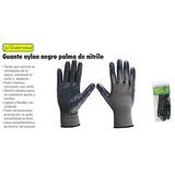 0860 Pqte De 10 Guantes De Nylon Negro Grande