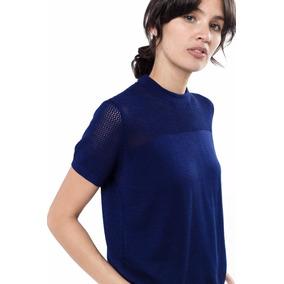 Sweater Blusa Tejida Toscana Manga Corta Azul Giacca