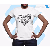 Camiseta Babylook Feminina Musica Musicista Notas Em Coração