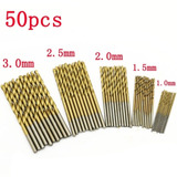 Kit 50 Brocas De 1 A 3mm Para Madeira Alumínio E Plástico