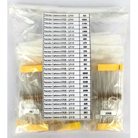 Kit Resistores Carbono 25x10 Cr25 Valores Variados Qualidade