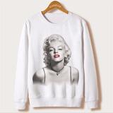 Blusa Moleton Gola Redonda Marilyn Monroe Atriz Fashion Moda