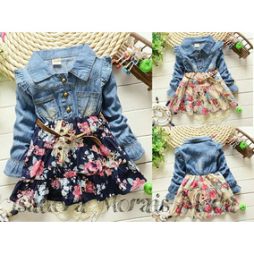 Vestido Infantil Jeans Floral Importado (pronta Entrega)