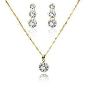 Colar Folheado Com Pingente Golden Diamond Diamante Dourado - Joias ... 33dd6cf3d3