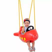 Balanço Infantil Avião Playground Ganchos Vermelho Xalingo