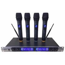 Microfone Profissional Barato S/ Fio C/ 4 Microfone Digital
