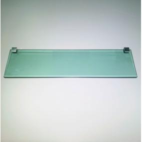 Prateleira Reta 400 X 100 Vidro Verde 8mm Com 2 Botão