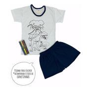 Pijama Infantil De Colorir Canetinha Presente Para Menino