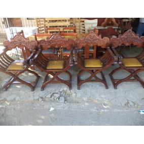 4 Butacas Venecianas Tallado En Posabrazos Cabeza De Leon