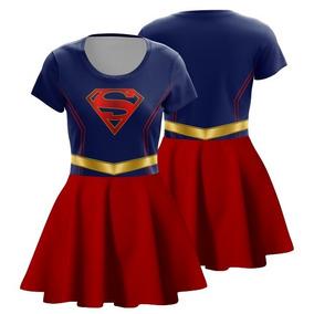 Vestido Supergirl Cosplay Superman Fantasia Super Homem Geek