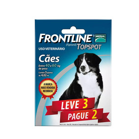Combo Frontline Top Spot Cães 40 A 60kg Merial 3 Pipetas