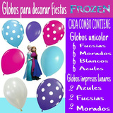 Globos Látex Surtidos Para Decorar Fiestas Frozen, Elsa, Ana