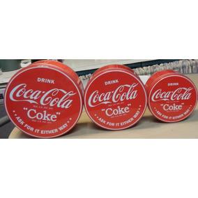 Latas Redonda Coca Cola Importada Original X 3 Logo Clasico