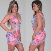 Vestido Tule Suplex Colado Estampado Verão 2015 Juju Panicat