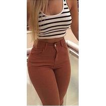 Calça Jeans Cintura Alta Hot Pants Juju Panicat Lycra Cós