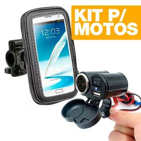 Kit Case Universal P/ Gps Celulares Moto + Tomada Usb K64