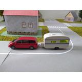 Ho 1/87 Miniatura Herpa Vw Sharan Com Trailer