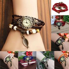 Relógio Feminino Vintage Pulseira Bracelete Couro Promoção