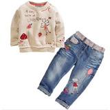 Conjunto Infantil De Calça Jeans E Blusa Moletom