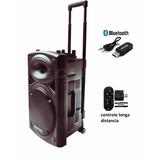 Caixa Som Ep-1292, 450wrms , 2 Mic Sem Fio, Bateria Interna.
