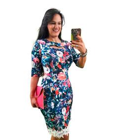 Vestido Estampado Social Tubinho Floral Vestidos Evangelicos