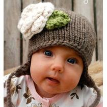 Gorro Bebe Estambre Crochet Cafe Con Flor!!