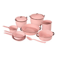Batería De Cocina De Peltre Rubí 11 Piezas Color Rosa Cinsa