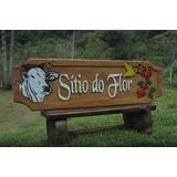 Placa De Madeira Entalhada Para Sítio,chácara,fazenda E Logo