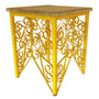 Banco De Ferro Artesanal Decorativo Madeira Rustica Amarelo