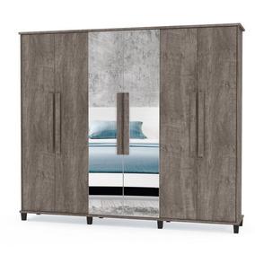 Guarda Roupa Grande Para Quarto Com 6 Portas Maleiro Espelho