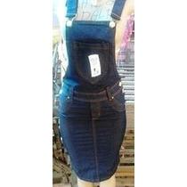 Kit Saia +jardineira Jeans Moda Evangélica 36 Ao 48