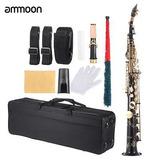 Latón Negro Profesional Saxo Soprano Recto Saxofón Bb B...