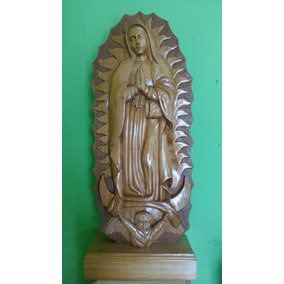 Escultura De Virgen De Guadalupe, Tallada En Madera De Cedro