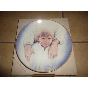 Plato De Coleccion Ceramica Niño Angel De La Guarda Vintage