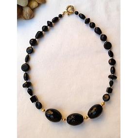 Collar De Agatha Negra, Oro Laminado 14k Y Plata, Elegante