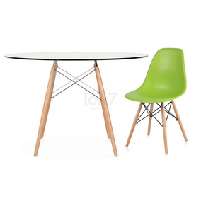 Kit Mesa Eames Wood 120 Cm Tampo Vidro + 4 Cadeiras Eames