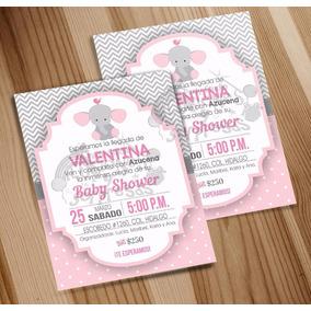 Invitación Imprimble Baby Shower Niña Tema Elefantes
