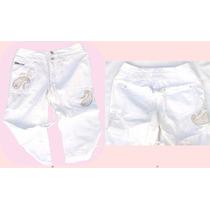 Pantalon Capri Importado Bordado Con Lentejuelas Dorado