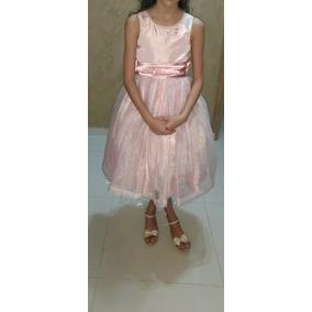 Vestido Daminha Ou Festa/ Organza Cristal Criança 6 A 8 Anos