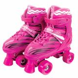 Patins 4 Rodas Clássico Rosa 35/38 Roller Skate Ajustável