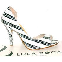Zapatos Luis Xv Stiletto Lola Roca Taco Alto Sandalias Cuero