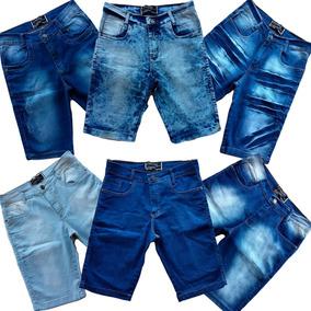 Kit 3 Bermudas Jeans Masculina Skinny Lisa Colorida Destroy