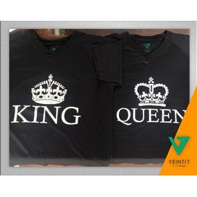 King Queen Pareja Novios Franela Camisetas Estampado Serigra