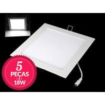 5 Painel Plafon Embutir Super Led Ultra Slim Downlight 18w