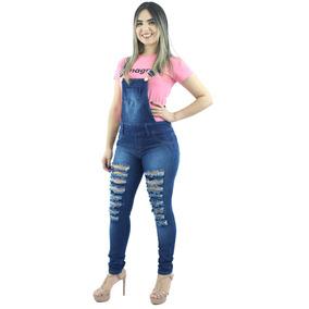 Macacão Feminino Jeans Rasgadinho