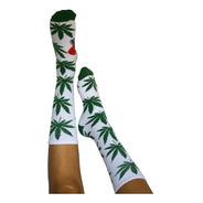 Meia Unissex  Cannabis Branco Maconha Ganja Verde