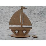 Barco Marinheiro Lembrança Mdf Cru Centro De Mesa M01