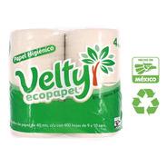 Papel Baño Higiénico Velty Ecológico 8 Rollos, 400 Hojas C/u
